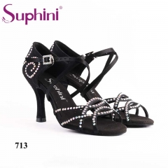 Suphini black satin hand made classic style hot sell latin dance shoes
