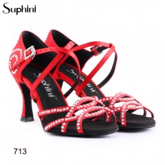Suphini free shipping red satin x strap soft sole latin dance shoes