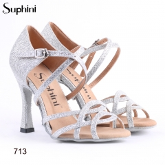 Free Shipping Suphini Salsa Shoes Customer Recommend Latin Dance Shoes Glitter Silver Woman High Heel Dance Shoes