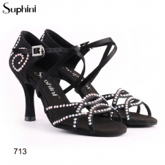 Suphini black satin hand made classic style latin dance shoes