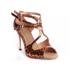 Suphini Tango Dance Sandal Hand Made 9cm High Heel Dance Shoes Leopard Orange Print Skin Tango Shoes