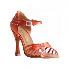 Suphini 2019 Classic design orange satin high heel professional latin salsa sandal