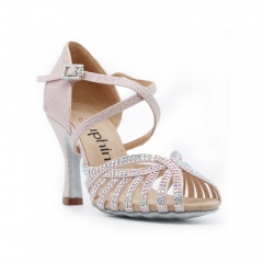 Free Shipping New Design Suphini Pink Glitter Woman Salsa Dance shoes