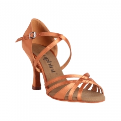 Suphini free shipping deep tan satin professional strap style latin salsa dance shoes