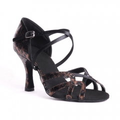 Suphini Free Shipping Brown Leopard Print X Strap Soft Insole 8cm Practice Heel Latin Salsa Dance Shoes