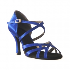 Suphini free shipping blue satin 4 strap basic design 7.5cm flare low heel latin dance heel