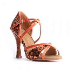 Suphini free shipping orange leopard basic X strap 10cm latin salsa dance shoes