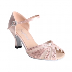 Suphini new design handmade pink satin with rhinestones strap style latin salsa dance shoes