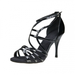 Tango Dance Shoes Suphini Hand Hand Made HighThin Heel Dance Shoes Black PU Strap Tango Shoes