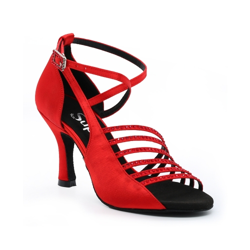 Suphini New Arrivals Chinese Red Multi Strap Ballroom Party Dance Shoes