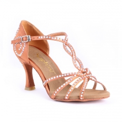 Suphini high quality deep tan satin upper soft sole latin shoes ankle strap salsa dance shoes