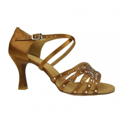 Suphini Free Shipping High Class Deep Tan Satin With Rhinestones Handmade Basic Sandals Low Heel 7.5cm Latin Salsa Dance Shoes