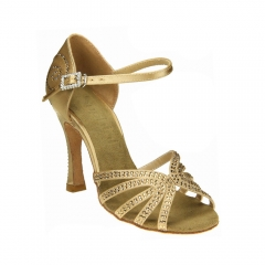 Tan Satin Strap With Rhinestones 10cm Heel Flare Latin Shoes Gold Satin Party Salsa Sandal