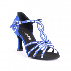 Suphini blue satin with rhinestone practice 7.5cm latin dance shoes