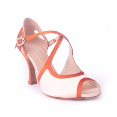 Suphini White&Orange Satin Open Toe Ballroom Argentina 9 cm Heel Dance Shoes