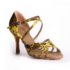 Suphini Free Shipping New Material Snake Skin 8cm Salsa Latin Strap Salsa Dance Shoes
