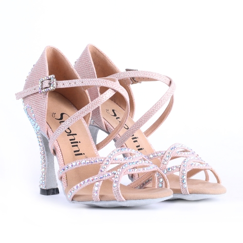 Free Shipping Suphini Competition 8cm Heel PINK Glitter Salsa Latin Shoes Woman Dance Shoes