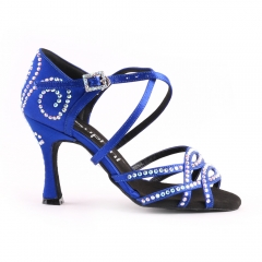 Suphini Latin Salsa Dance Shoes free shipping blue satin with rhinestones strap style professional latin salsa dance shoes