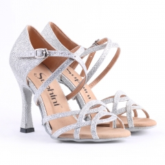 Free Shipping Suphini Competition 10cm Heel Silver Glitter Salsa Latin Shoes Woman Dance Shoes
