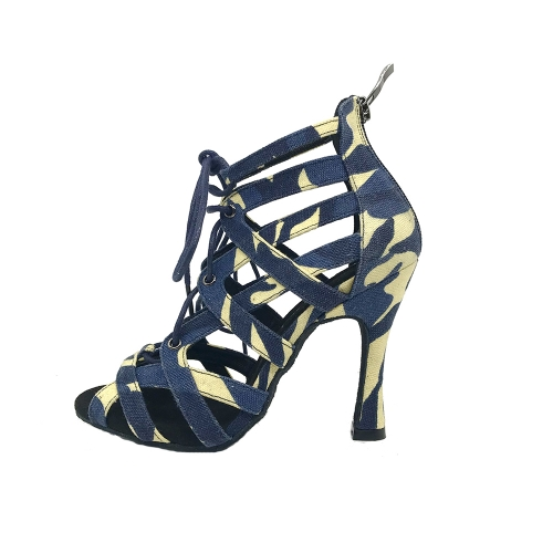 Free Shipping Suphini 10cm Heel Sexy Cool Girl Indigo Color Camouflage Fabric Ankle Lace-Up Latin Salsa Dance Boots