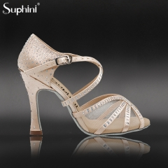 Free Shipping Suphini Soft Sole High Heel Dance Shoes Pink Satin With Lace Rhinestones Party Dance Shoes